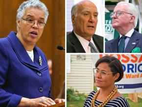 Clockwise from left: Toni Preckwinkle, Bill Daley, Ed Burke and Rossana Rodriguez