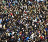 A crowd gathered to hear Barack Obama