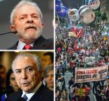 Clockwise rom top left: Luiz Inácio Lula da Silva; mass march during a general strike against the government; Michel Temer