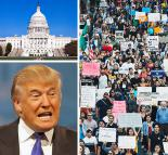 Clockwise from top left: U.S. Capitol building; Los Angeles protest; and Donald Trump