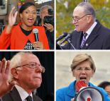 Clockwise from top left: Summer Lee, Chuck Schumer, Elizabeth Warren and Bernie Sanders