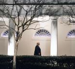 Donald Trump walks down the West Colonnade of the White House (D. Myles Cullen | Wikimedia Commons)