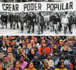 Above: Chilean workers demonstrate during the early 1970s; below: at a union meeting in the U.S.