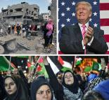 Clockwise from top left: Destruction in Yemen; Donald Trump; protesting in Palestine