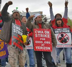 Verizon strikers on the picket line and standing up to corporate greed (Stand Up to Verizon)