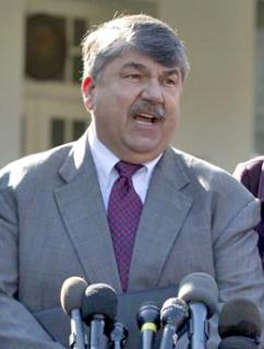 AFL-CIO President Richard Trumka speaks to reporters outside the White House