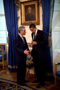President Obama with White House Chief of Staff Rahm Emanuel (Pete Souza)