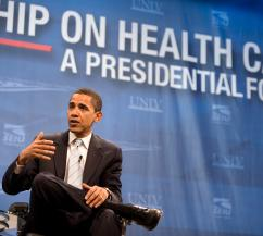 Barack Obama discusses health care reform on the campaign trail