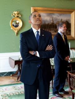 Barack Obama before a White House press conference in September (Pete Souza)