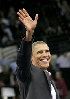 President Obama greets his cheering supporters (Dana Beveridge)