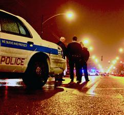 Chicago police on patrol at night