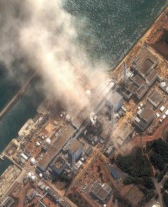 Steam escapes from a damaged reactor at the Fukushima Daiichi nuclear plant (Digital Globe)