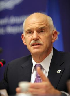 Greek Prime Minister George Papandreou at a July 21 emergency meeting to arrange for a second bailout