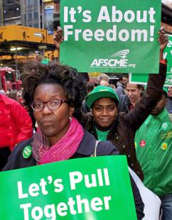 AFSCME workers on the march at a New York City protest (David Shankbone)