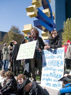 Occupy Frankfurt protesters in Germany gather in a protest against austerity (Mustafa Dogan)