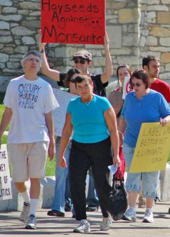 Protesters marching against Monsanto in Michigan last year