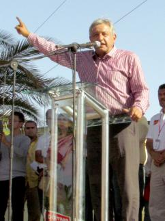 Andrés Manuel López Obrador speaks to a large rally of supporters