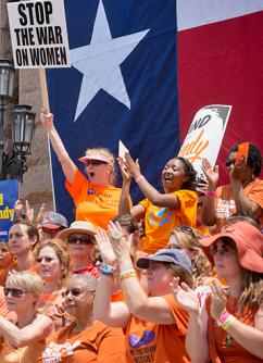 Pro-choice protesters gathered outside the Texas state Capitol building (David Weaver)