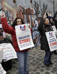School bus drivers on strike in New York City