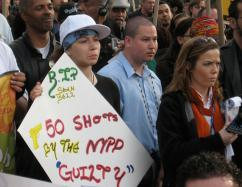 "Following the ""not guilty"" verdict in Sean Bell's case, more than 200 people marched through Harlem in protest, April 26, 2008 (Brian Jones 