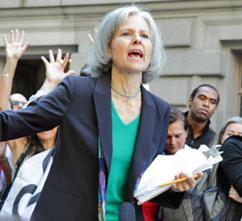 Dr. Jill Stein speaks at an Occupy Wall Street demonstration (Paul Stein)