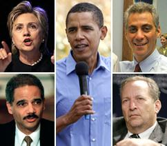 Barack Obama and likely administration appointees, clockwise from top left: Hillary Clinton, Rahm Emanuel, Lawrence Summers and Eric Holder