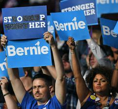 Sanders supporters on the floor of the Democratic convention