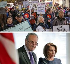 From left: Chuck Schumer and Nancy Pelosi; protesting the Republican tax-cut heist in New York