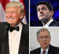 Clockwise from left: Donald Trump, Paul Ryan and Mitch McConnell