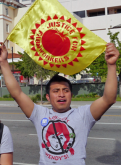 Victor Diaz at a justice for farmworkers demonstration (Migrant Justice)