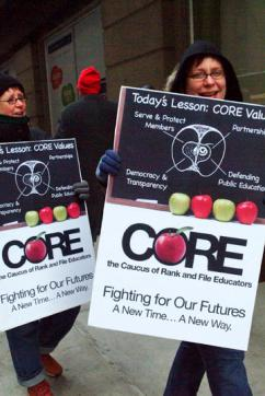 Members of the Caucus of Rank and File Educators at a protest against school closures (Garth Liebhaber)