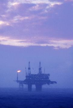 An oil platform off Britain's coast in the North Sea (Newscom)