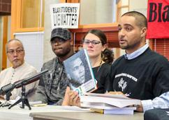 Garfield High School teacher Jesse Hagopian (right) speaks about anti-racism in school curricula (Venice Buhain | The Seattle Globalist)