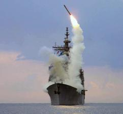 A Tomahawk Cruise missile launched from a U.S. Navy ship