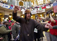 The protests in Wisconsin's capital building have galvanized the labor movement (Brian Kersey | UPI)