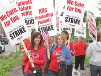 Nurses at Minneapolis Children's Hospital on the picket line