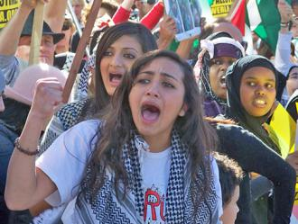 Protesters in Los Angeles march in solidarity with the people of Palestine