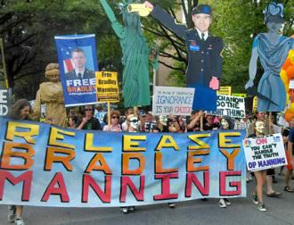 Supporters march in Washington, D.C., to call for Bradley Manning's release