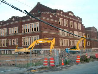 A public school in Albany, N.Y., slated for demolition and reconstruction (Robin Skyler Tell)