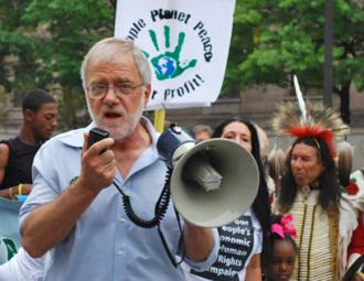 Howie Hawkins at the massive People's Climate March in New York City (Carole Ramsden | SW)