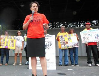 Protesters speak out at the Free Her rally against women's increasing incarceration (Julia Johnson)