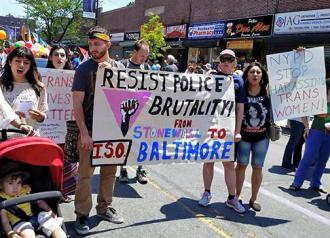 Speaking out against police violence at Queens Pride (Amy Muldoon)