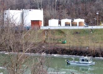 Freedom Industries' terminal on the banks of the Elk River