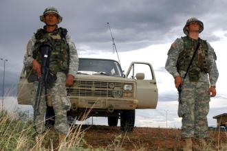 Army National Guard soldiers on the U.S.-Mexico border at Nogales, Ariz. (Sgt. Jim Greenhill)