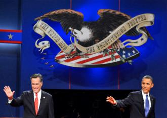 Presidential candidates Romney and Obama at their first debate