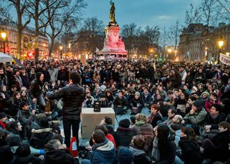 Masses of mainly young people continue to occupy the Place de la République each evening (Nuit Debout)