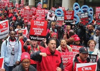 Striking Verizon workers take to the streets in New York City (New York State Nurses Association)