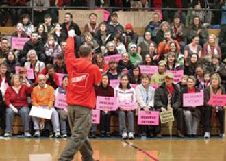 Teachers and their supporters gather for a rally at Gresham High School