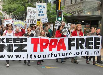 Marching against the Trans-Pacific Partnership in New Zealand (Peg Hunter)