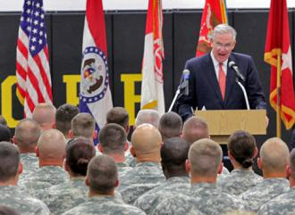 Missouri Gov. Jay Nixon speaks to National Guard troops (David Pokorny)